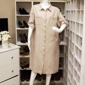 LL BEAN LINEN BLEND SHIRT DRESS XL